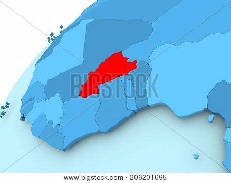 Burkina Faso On Blue Globe