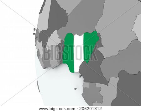 Nigeria On Globe With Flag