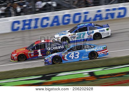 September 17, 2017 - Joliet, Illinois, USA: Jamie McMurray (1), Aric Almirola (43) and Chris Buescher (37) race at the Tales of the Turtles 400 at Chicagoland Speedway in Joliet, Illinois.