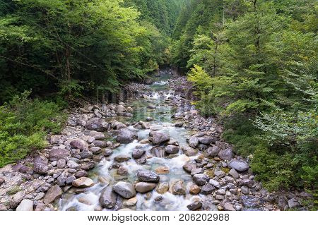 Nature Scene With Mountain River, Creek With Crystal Clear Water