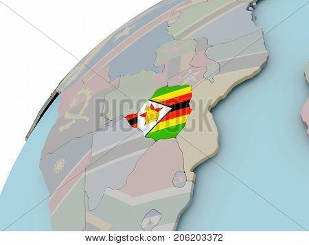 Map Of Zimbabwe With Flag
