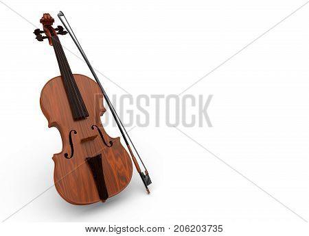 3d rendering. Violin and bow on white background