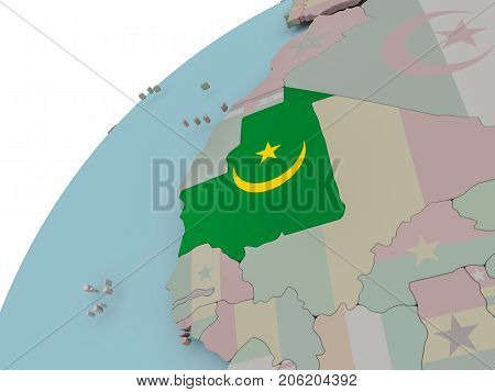 Map Of Mauritania With Flag
