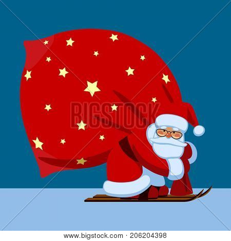 Santa Claus by ski carrying a big red sack on the blue background in flat style