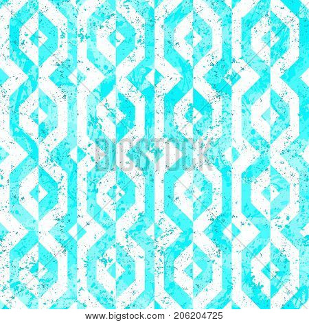 Vector geometric seamless pattern with lines and geometric shapes in blue and white. Modern bold bright print with diamond shapes for fall winter fashion. Abstract dynamic tech op art background