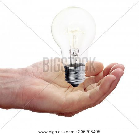 man palm and incandescent electric lamp isolated on white background