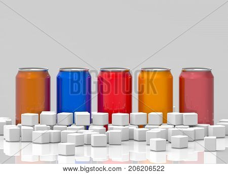 3d rendering. beverage soft drink can surrounded by white sugar cube. Unhealthy concept