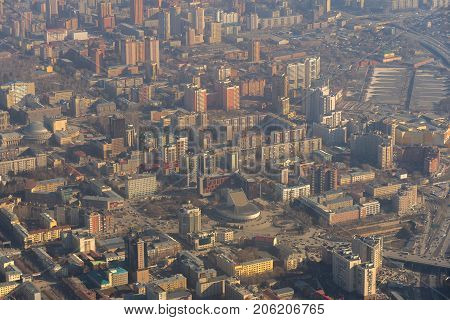 Morning city Novosibirsk view from the airplane