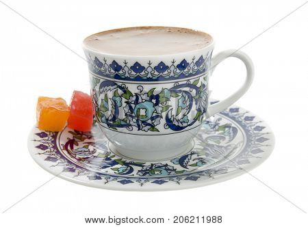 Traditional Turkish Coffee and Turkish Delight Isolated