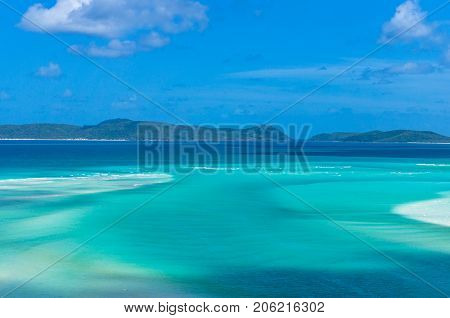 Amazing Tropical Landscape Of Turquoise Blue Water And Coral Reef Islands