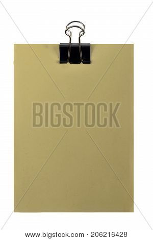 yellow paper with blank space for text message or memo and black clip on white background