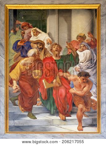 ROME, ITALY - SEPTEMBER 05: The fresco with the image of the life of St. Paul: Paul is Dragged from the Temple, basilica of Saint Paul Outside the Walls, Rome, Italy on September 05, 2016.