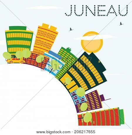 Juneau USA Skyline with Color Buildings, Blue Sky and Copy Space. Business Travel and Tourism Concept. Image for Presentation Banner Placard and Web Site.