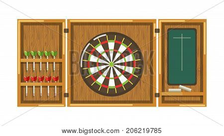 Wooden darts panel with round aim, sharp javelins and blackboard with chalk to write score isolated cartoon flat vector illustration on white background. Simple game to spend free time and have fun.