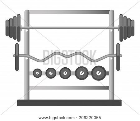 Gym chest press barbell bench or machine equipment with iron dumbbell biceps stand weights. Vector isolated icon for fitness sport club bodybuilding and powerlifting