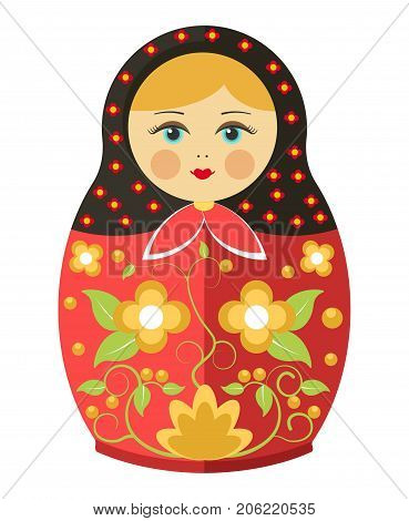 Matryoshka doll or Russian nesting doll with traditional ornament and clothing painting decoration pattern. Vector flat decorative isolated traditional Russia wooden doll toy souvenir