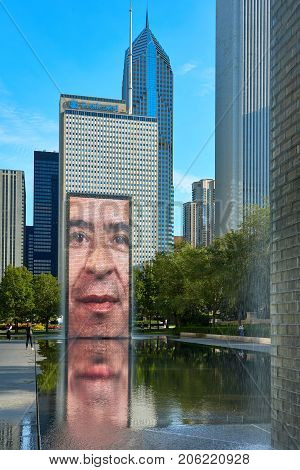CHICAGO,IL - SEPTEMBER 2, 2017 : The Jaume Plensa's Crown fountain in Millennium Park, Chicago. An interactive work of public art and video sculpture featured. It operates from May to October.