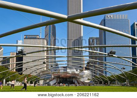 CHICAGO, IL - SEPTEMBER 2, 2017: The Jay Pritzker Pavilion in Chicago. The 11,000 capacity pavilion was constructed between June 1999 and July 2004. It serves as the centerpiece for Millennium Park.