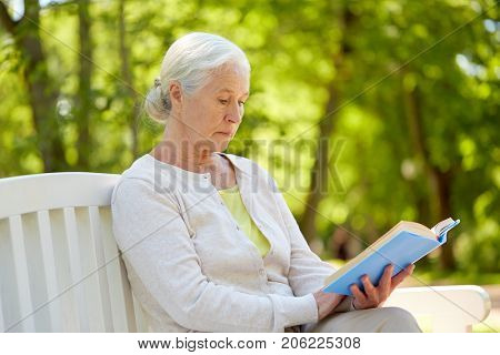 old age, retirement and people concept - happy senior woman reading book sitting on bench at summer park