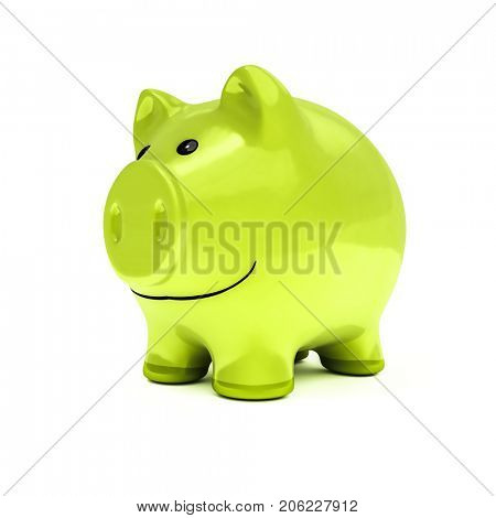 3d illustration of a typical piggy bank in green color
