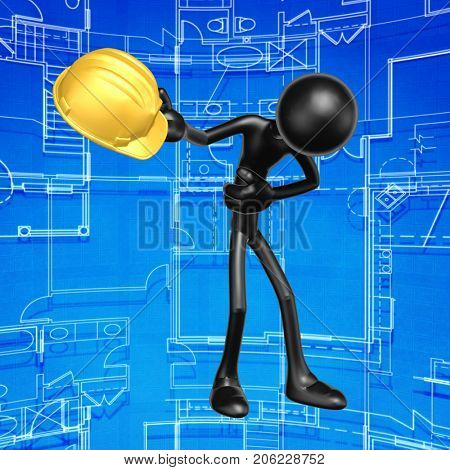 The Original 3D Construction Worker Character Illustration