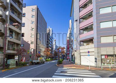 TOKYO, JAPAN - NOVEMBER 13, 2016: Crosswalk at Ikebukuro district of Tokyo metropolis, Japan. Tokyo Metropolis is both the capital and most populous city of Japan.