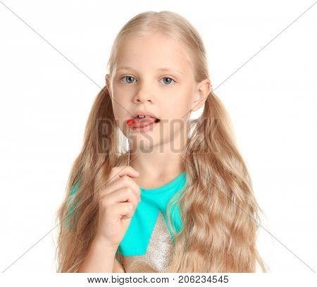 Cute girl with logopedic probe for speech correction on white background