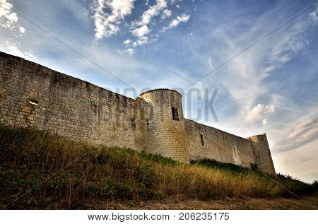 French castle in Charente region on the top of the hill of Villebois-Lavalette