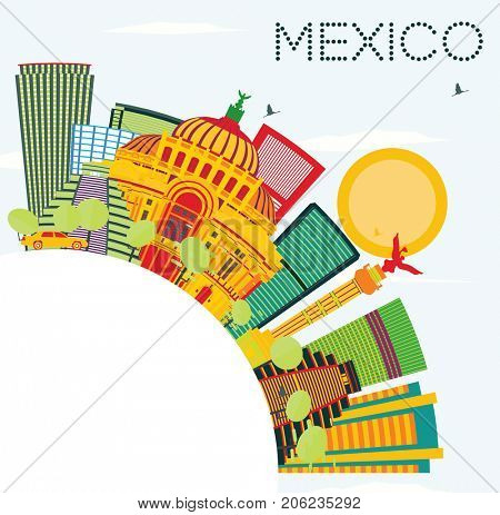 Mexico Skyline with Color Buildings, Blue Sky and Copy Space. Business Travel and Tourism Concept with Historic Architecture.