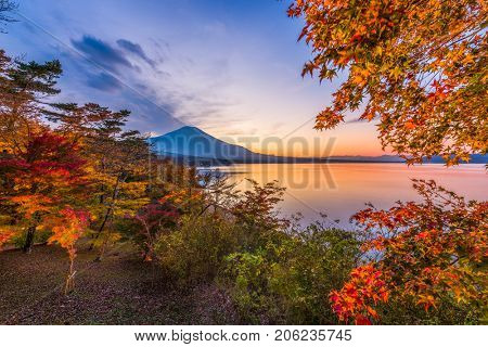 Lake Yamanaka, Yamanashi, Japan with Mt. Fuji during autumn season.