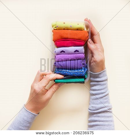 Clothes storage. Order in the closet. Folding socks. Master Class.