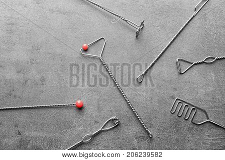 Set of logopedic probes for speech correction on grey background