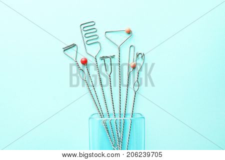 Set of logopedic probes for speech correction on color background