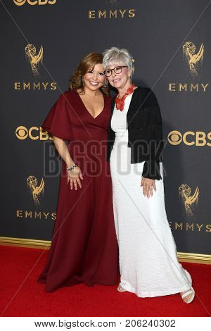 LOS ANGELES - SEP 17:  Justina Machado, Rita Moreno at the 69th Primetime Emmy Awards - Arrivals at the Microsoft Theater on September 17, 2017 in Los Angeles, CA