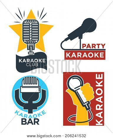 Karaoke club and bar  labels or logotype design collection set.