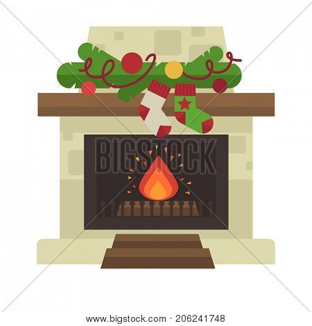 fireplace. Merry Christmas and harry New Year holiday decoration