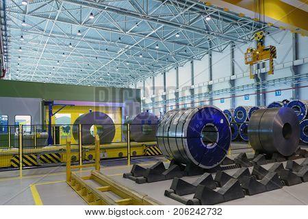 VSEFOLOZHSK, LENINGRAD REGION, RUSSIA - JUNE 5, 2015: Presentation of the joint enterprise Severstal-SSC-Vsevolozsk. The joint venture of Russian Severstal and Japanese Mitsui was established in 2010