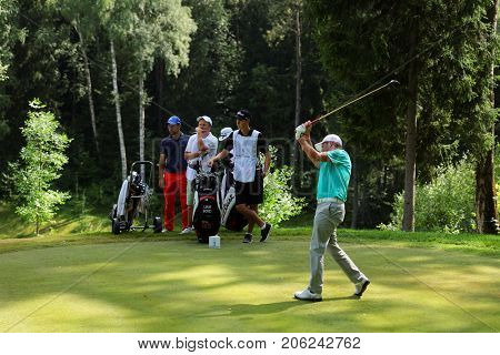 TSELEEVO, MOSCOW REGION, RUSSIA - JULY 24, 2014: Liam Bond of Wales in action in the Tseleevo Golf & Polo Club during the M2M Russian Open. This golf tournament is the stage of the European Tour