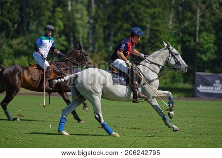 TSELEEVO, MOSCOW REGION, RUSSIA - JULY 26, 2014: Match British Schools - Moscow Polo Club during the British Polo Day. Moscow Polo Club won 7-6