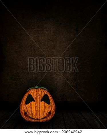 3D render of a grunge room interior with spooky Jack o lantern