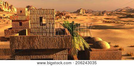 Arabic town on desert, 3d rendering