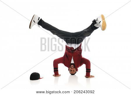 Hip Hop dancer performing isolated on a white background