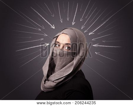 Young muslim woman wearing niqab with white arrows pointing to her head