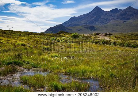 Landscape of a field and Cuillin Mountain peaks at Tir Nan Iolaire or the Land of Eagles on the Isle of Skye in Scotland.