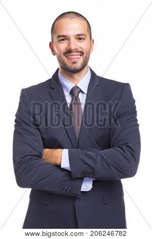 Handsome smiling business man with arms crossed, isolated on a white background