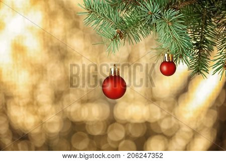 Brunch of fir tree with Christmas balls on blurred background