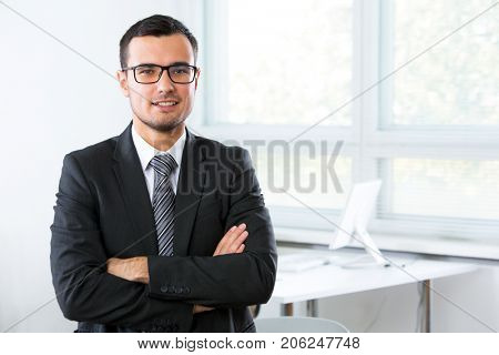 Young businessman in an office