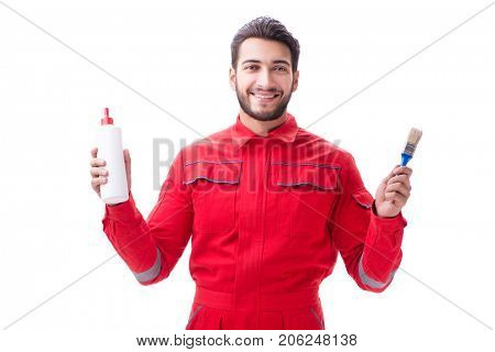 Young repairman with paint glue and a paintbrush brush isolated