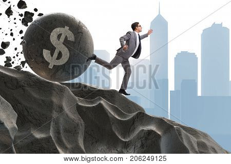 Businessman in economic crisis business concept