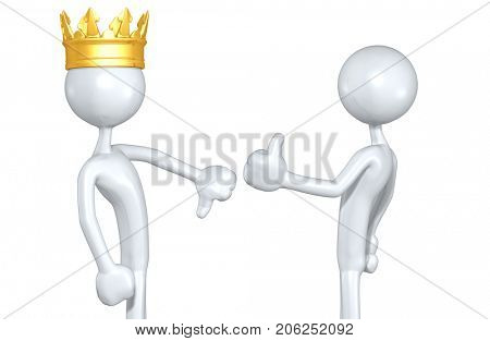 The Original 3D Characters A King Thumbs Down And A Character Thumbs Up Illustration
